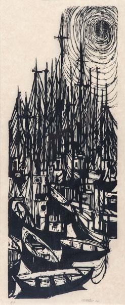 """Fleet   17"""" x 32"""" (framed), woodcut, 1966"""