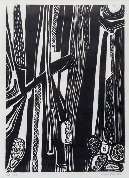 "Trees | 17"" x 21"" (framed), woodcut, 1984"