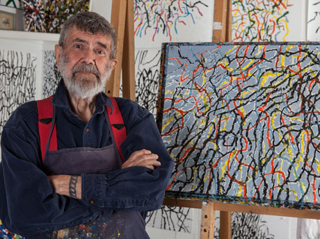 Roger Martin in his studio, Rockport, MA.