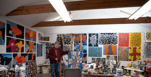 Roger Martin in his studio, Rockport, MA